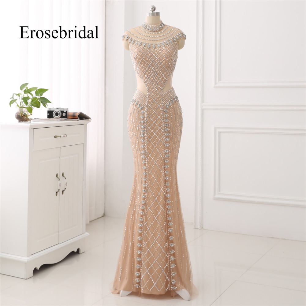 High Collar 2018 Mermaid   Evening     Dress   Beaded Long   Evening   Gown Sexy Beading Illusion Back robe de soiree In Stock