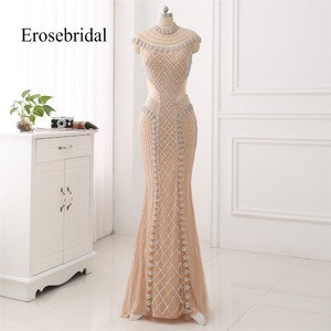 Image 1 - High Collar 2019 Mermaid Evening Dress Beaded Long Evening Gown Sexy Beading Illusion Back robe de soiree In Stock