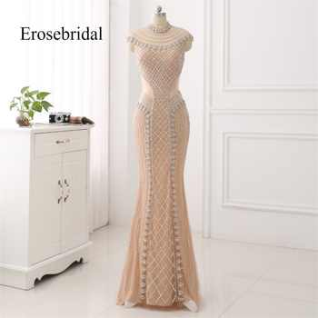 High Collar 2019 Mermaid Evening Dress Beaded Long Evening Gown Sexy Beading Illusion Back robe de soiree In Stock - DISCOUNT ITEM  30% OFF All Category