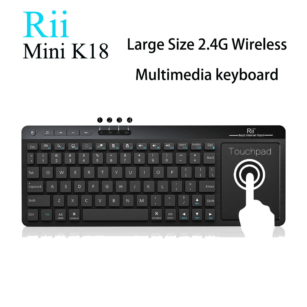 [Genuine] Rii K18 English / Russian 2.4G Wireless Mini Fly Air mouse Keyboard Touchpad For Smart Android TV Box HTPC IPTV Laptop rii k18 2 4ghz wireless multimedia mini keyboard with large size touchpad air mouse for pc google smart tv htpc iptv android box