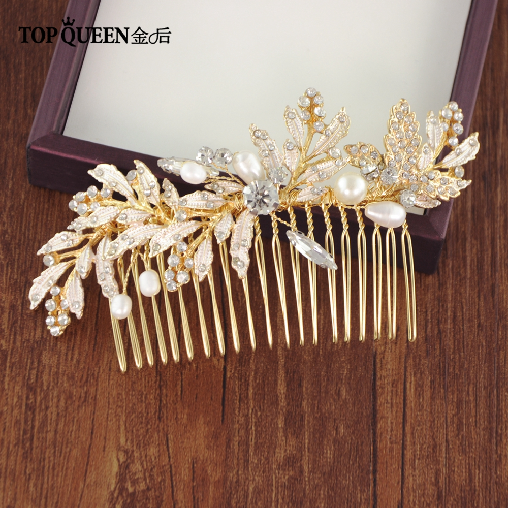 TOPQUEEN Fashion Bridal Comb Elegant Wedding Headwear Leaf  Pearl Bridal Hair Comb Hair Jewelry Accessory Fast Shipping HP14