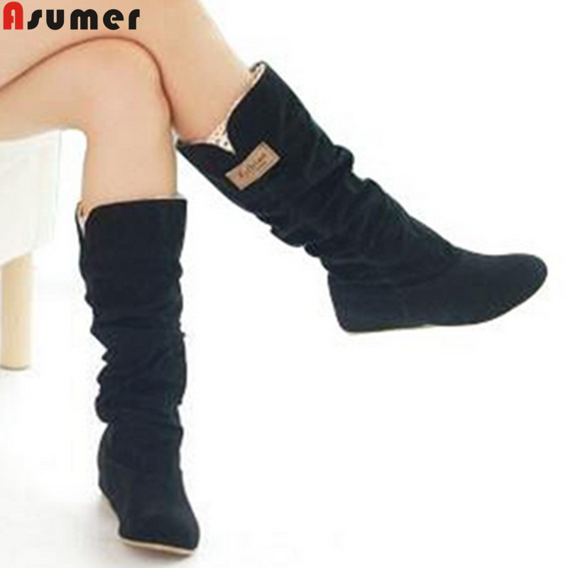 new 2016 fashion female woman knee high boots flat heel nubuck leather motorcycle women boots autumn boots autumn winter shoes(China (Mainland))