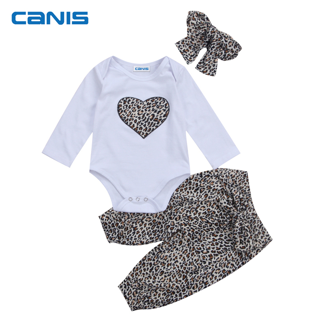 093324fa97 New Leopard White Stylish Newborn Kid Baby Girl Clothes Jumpsuit Romper  Pants Outfit Set