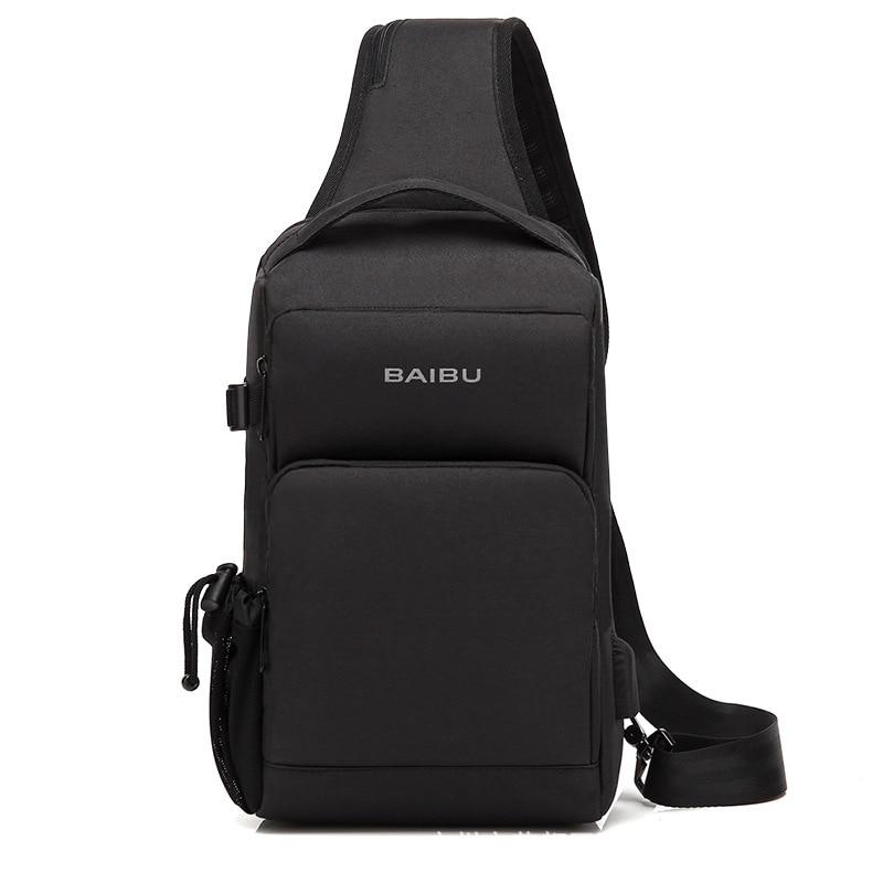 Fashion Men Shoulder Bags USB Charging Chest Pack Casual Messenger Sling Bag Travel Splashproof Crossbody Bags Male 1994