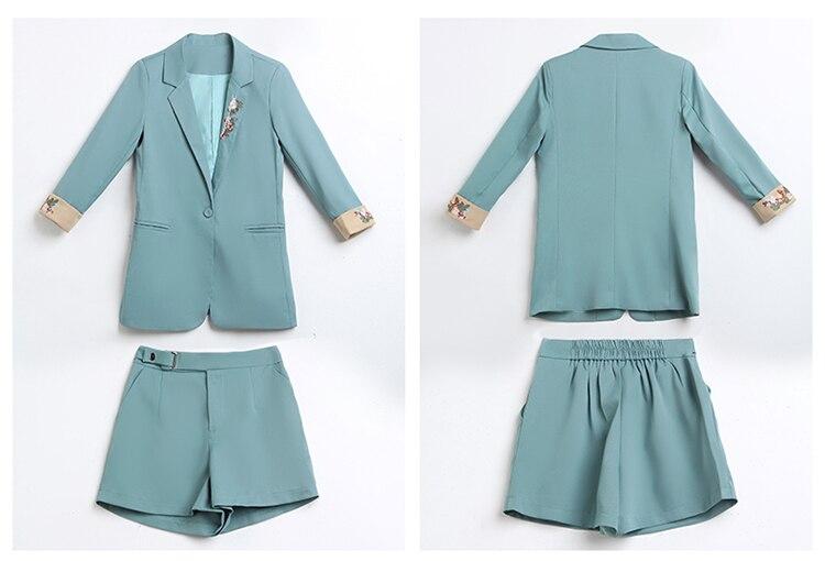 Femmes Dames Costume Et Deux Nouveau pièce Vêtements Décontracté Blue Mode Printemps Shorts 2019 D'été De C003 Tempérament Ensemble pR5wqSq