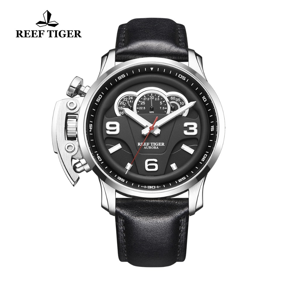 цена New Reef Tiger/RT Outdoor Sport Watches for Men Steel Analog Quartz Watches Leather Strap Waterproof Watch Montre Homme RGA2105