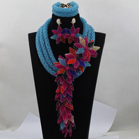 Teal Blue African Costume Jewelry Set Wedding Beads Necklace Set Pink Flowers Lace Jewelry Set Free Shipping WD401