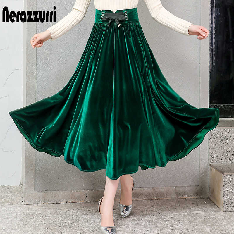Nerazzurri plisado falda de terciopelo mujer negro verde gótico estilo elegante largo caliente alta cintura Falda midi talla grande 4xl 5xl 6xl 7xl