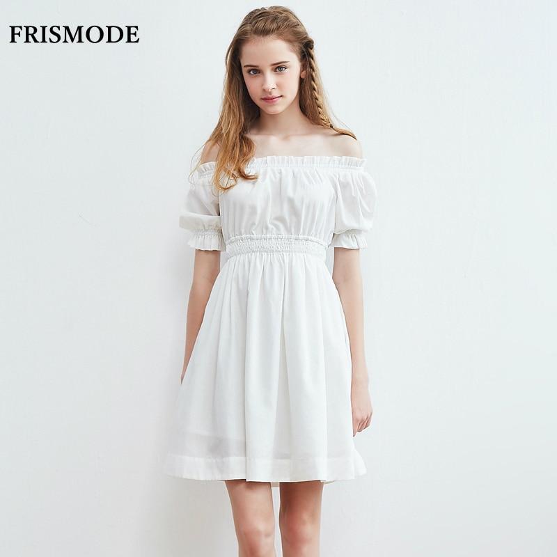 100% Cotton Women Summer Dress 2017 Young Lady Cute Slash ...