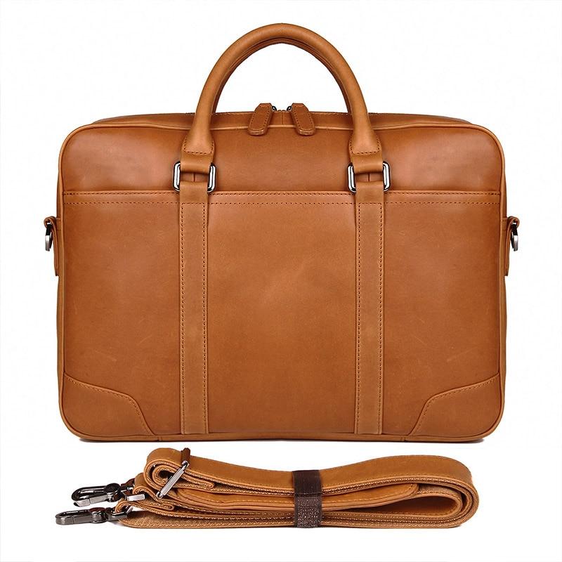 J.M.D Vintage Genuine Leather Men Briefcase Business Bag Large Leather Briefcases Men Laptop Case Shoulder Bag 7348B-2