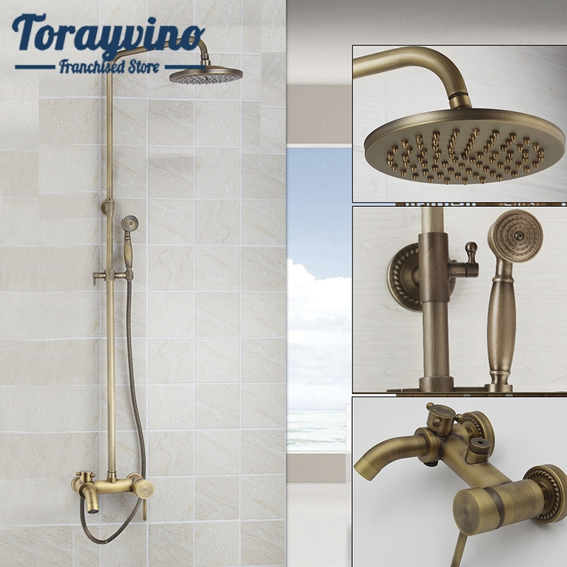 Antique Brass Bathroom Rainfall Shower Head System Polished Chrome Bath & Shower Faucet Mixer Shower Set W/ Hand Spray dofaso luxury rose gold copper shower faucet bathroom antique shower set 8 rainfall shower kit bath brass shower system chrome