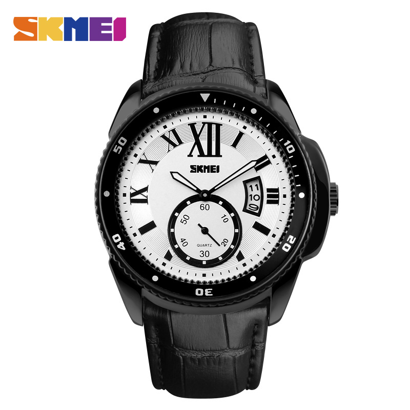 Watches Men Brand SKMEI Fashion Casual Sport Watch Genuine Leather Band Waterproof Quartz Clock Wristwatches Relogio Masculino relogio masculino bos brand new luxury watch men fashion casual waterproof quartz watches genuine leather wristwatches hot gift
