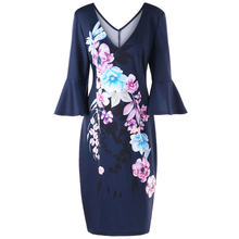 Plus Size Flare Sleeve Floral Pencil Dress