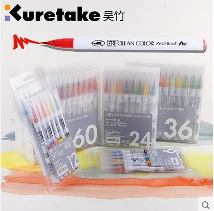 kuretake RB-6000AT 4/6/12/24/36/60 colors ZIG clean color real brush soft head watercolor brush cartoon drawing pen art supplie