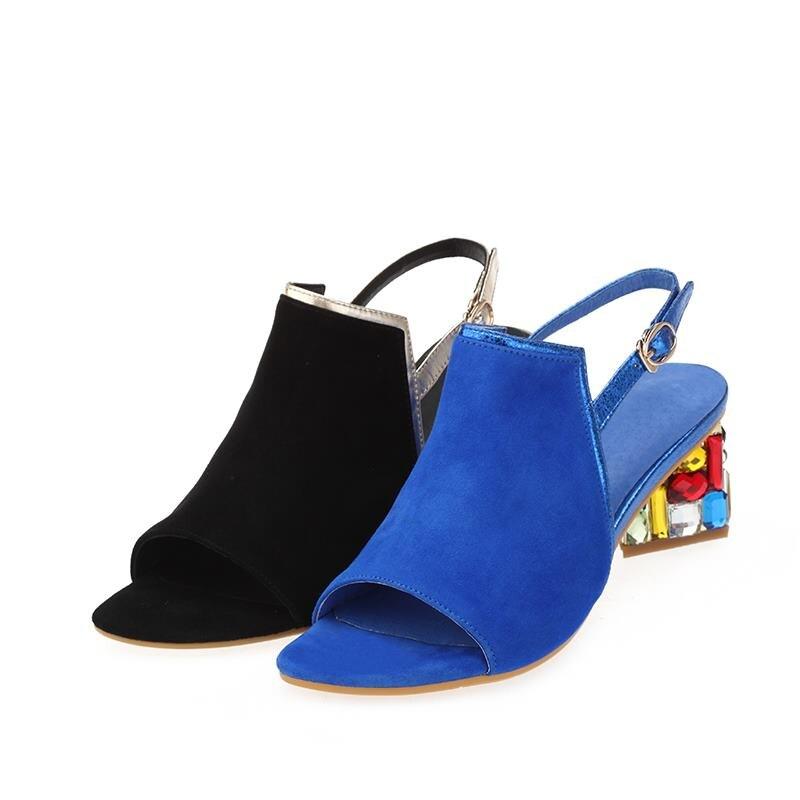 MORAZORA nueva moda de alta calidad de verano de piel de oveja sandalias de cuero de gamuza de Mujer Zapatos de boda de diamantes de imitación de color sólido-in Sandalias de mujer from zapatos    2