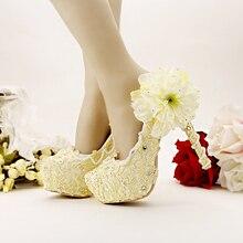 สีเหลืองรองเท้าแต่งงานหวานบริสุทธิ์แสงรองเท้าเจ้าสาวสูงพิเศษน้ำตารางรองเท้าดอกไม้ลูกไม้ปั๊มสตรี