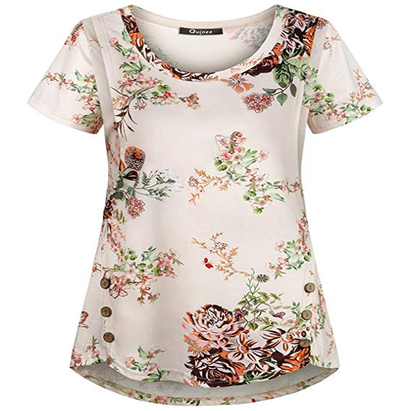 Casual Womens Pregnant Maternity Nursing Stripe Breastfeeding Top T-Shirt Blouse