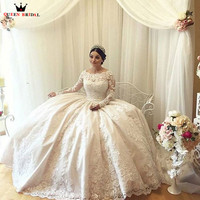 Formal Ball Gown Fluffy Big Train 3 4 Sleeve Tulle Lace Beaded Elegant Wedding Dresses Wedding Gowns Vestido De Noiva DR28M