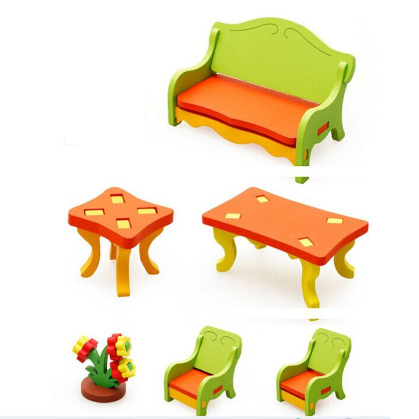 HIINST Kid Children Educational Toy Wooden 3D Home Table Chair Sofa Q35 APR27