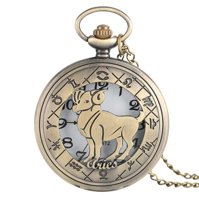 Twelve Constellations Aries Gifts Bronze Quartz Pocket Watch Fashion Men's Women's Pendant Neckalce Chain Clock Half Hunter Gift