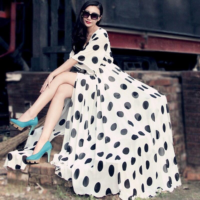 Fente Mousseline Imprimer Robes De Haute Noir Sexy Taille Manches D'été Bohême Dames Polka Dot Robe Femmes Occasionnel blanc Plus Flare Nouvelles Soie qTwUzx1f1