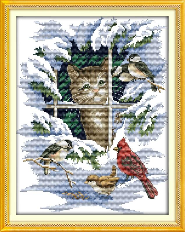Կատուների և թռչունների հաշվարկված խաչի կարդալ 11CT 14CT DMC Cross Stitch հավաքածուներ DIY Cross Stitch փաթեթներ ասեղնագործության համար Տնային դեկոր ասեղնագործության համար