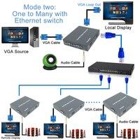 DT206C 660ft Network VGA Over IP Audio Splitter Extender By Ethernet Cat5e Cat6 Cable 1080P VGA LAN Video Transmitter Receiver