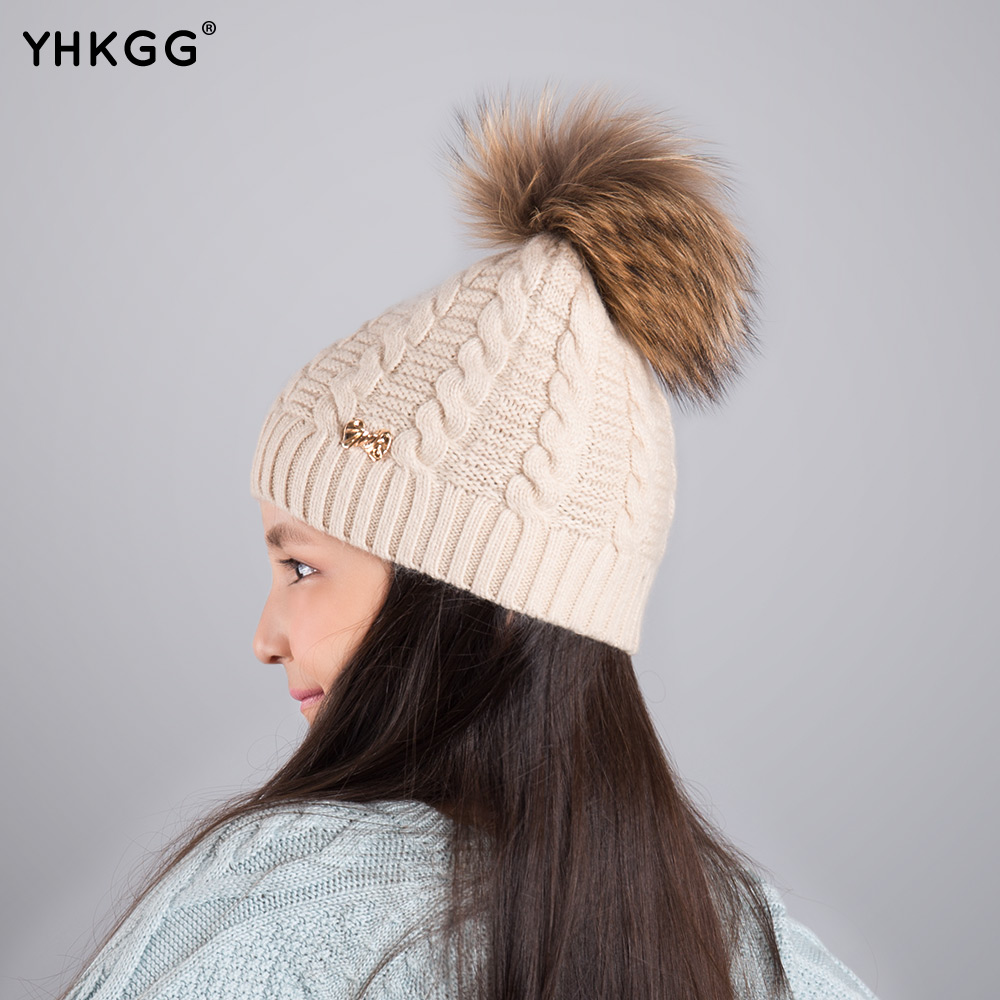 2016YHKGG Fashion Children Winter Raccoon Fox Fur Hat For Girls Boys Real pompoms Ball Beanies Cap Crochet Kids Knitted Hats