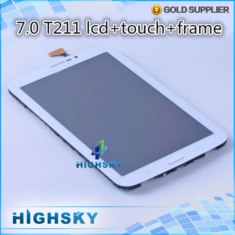 5 pcs/lot free shipping high quality white new replacement assembly tab 3 7.0 inch for Samsung galaxy t211 lcd with touch +frame