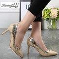 Moda sexy saltos mulheres bombas preto, Ouro, orange grande tamanho mulheres sapatos de salto alto plus size 34-43 sapatas das senhoras marcas frete grátis