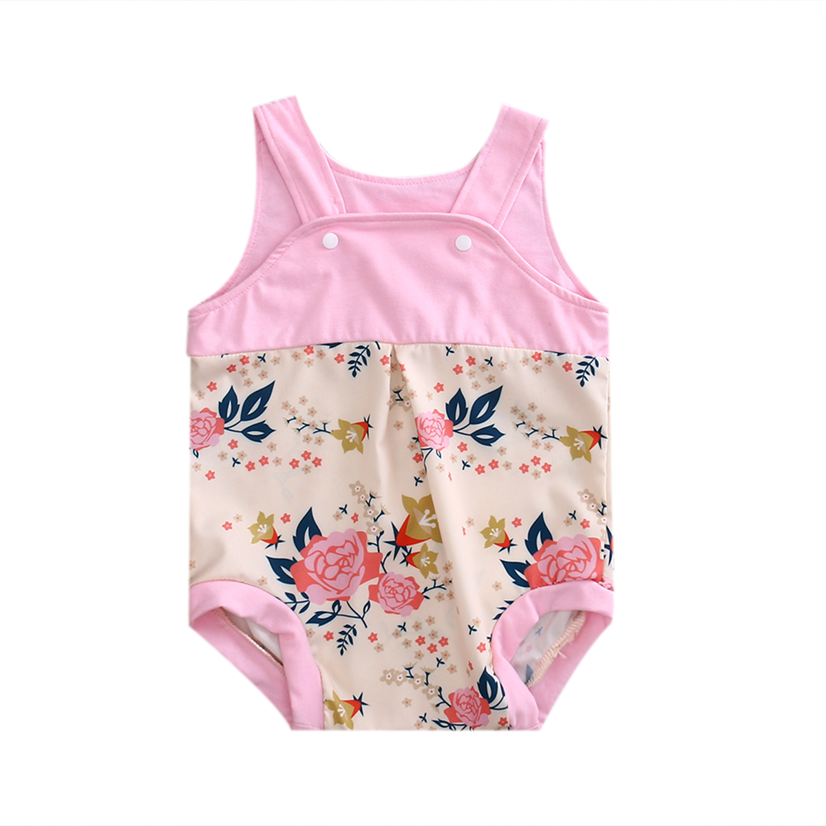 2017 Cute Sweet Newborn Baby Girl Sleeveless Pink Floral Cotton Romper Jumpsuit Toddler Summer Clothes Set Outfit