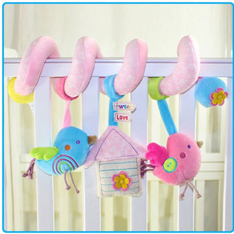 Baby Rattles Mobile Hanging Bird Music Around the Bed Car Lathe Infant Cartton Toys With Electronic Bell Birds Plush Toys