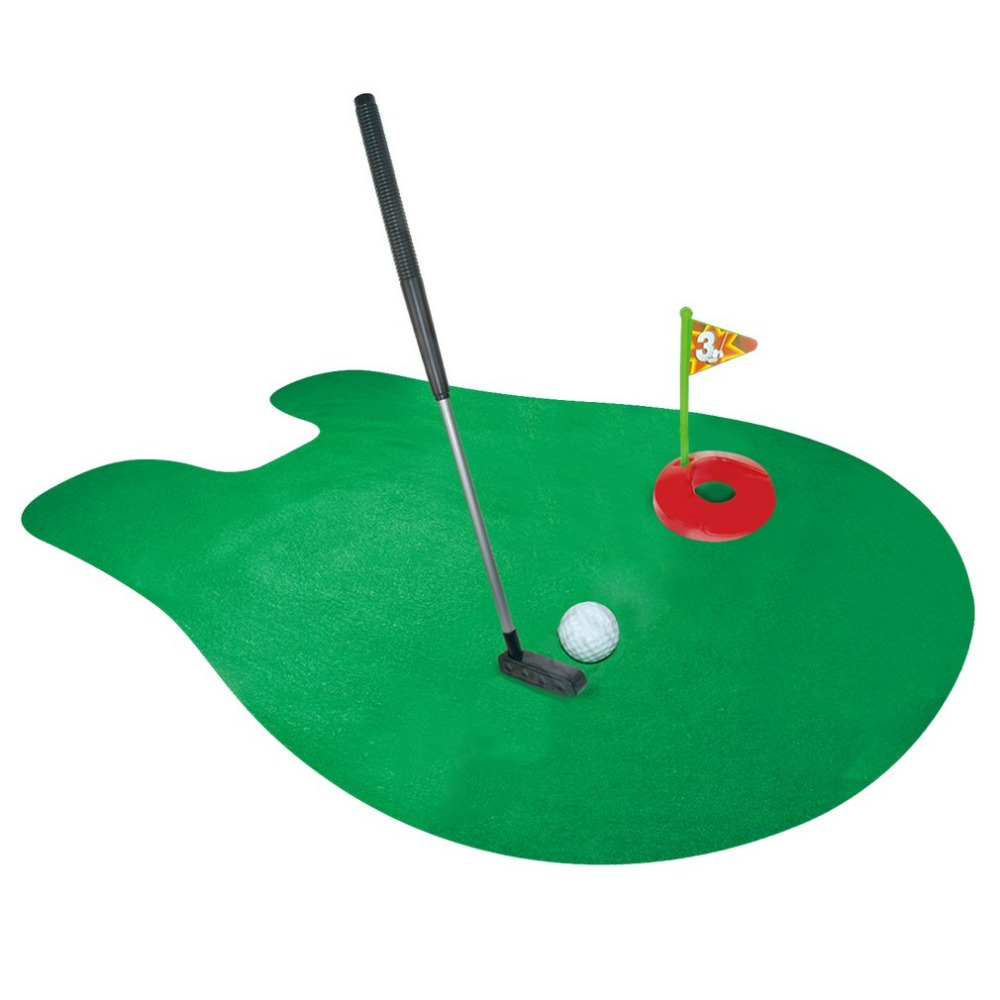 1 Set Mini Golf Package Mat Toilet Entertainment Bathroom Decoration Toilet Seat Mats Golf Tees Novelty Gag Gift Toy