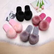 Hot Womens Furry Slippers Ladies Cute Plush Fox Hair Fluffy Fur Winter Warm for Women