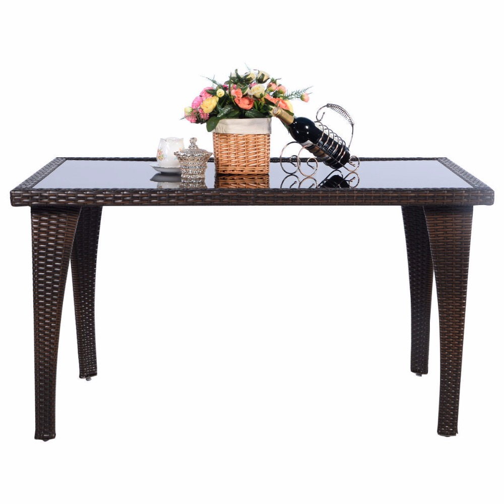 Giantex Brown Patio Furniture Outdoor Garden Dining Rattan Wicker Coffee Table Home Furniture HW51573+ цены