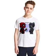 6b1493db39f71 Noir Panthère Enfants T-shirt de Bande Dessinée Anime Panthère Enfants  T-shirt Garçons Filles À Manches Courtes Tops T-shirts En..