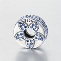 GW Sterling Silver Flower Charm Silver Pave Blue Australian Crystal Jewelry Bracelet Bangle For Women X425