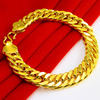 12MM Thick Cuban Bracelet Solid Yellow Gold Filled Bracelet Bangle Male Accessory Hip Hop Party Rock