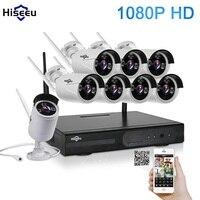 1080 P NVR kit Sistema de CCTV Wireless 2 M 8ch HD wi-fi Visión Nocturna Por INFRARROJOS IP Wifi al aire libre Cámara de Seguridad Del Sistema de Vigilancia Hiseeu