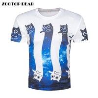 3D Printed Cat T Shirts Men Cute Cartoon Funny T Shirt Male Harajuku Galaxy Short Sleeve