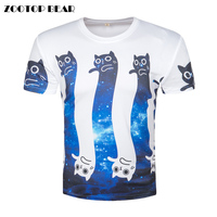 3D Printed Cat T Shirts Men Cute Cartoon Funny T Shirt Male Harajuku Galaxy Short Sleeve