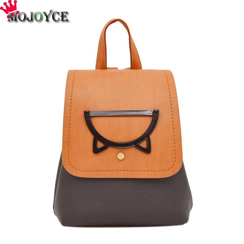 MOJOYCE Cat Women Backpack Funny PU Leather School Backpacks Bag for Teenagers Girls Schoolbag Small Animal Bagpack