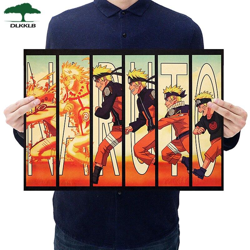 Dlkklb Anime Poster Naruto Vintage Kraft Paper Classic Nostalgia Poster Home Dorm Room Decor Wall Sticker 51x35.5cm