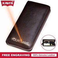 KAVIS Genuine Leather Wallet Men Male Clutch Purse Long Walet Portomonee Handy Big Capacity Bag Business