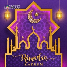 Laeacco Ramadan Kareem Festival Wreath Circle Mosque Lantern Scene Photographic Background Photography Backdrop For Photo Studio
