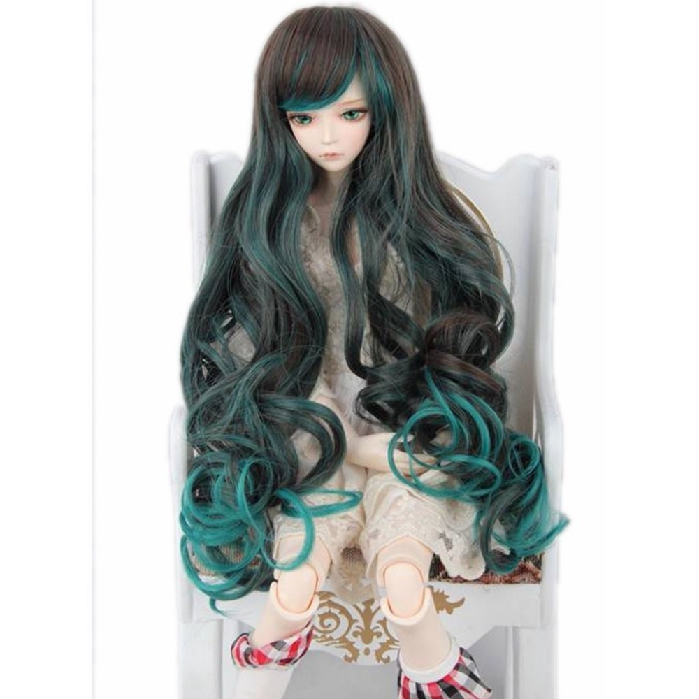 [wamami] 97# Black & Green Long Wig For 1/4 MSD AOD DOD DZ BJD Dollfie 7-8 handsome grey woolen coat belt for bjd 1 3 sd10 sd13 sd17 uncle ssdf sd luts dod dz as doll clothes cmb107