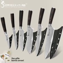 SOWOLL Stainless Steel Knife Kitchen Knives Tools Color Wood Handle Fruit Vegetable Meat Cooking Accessories With Knife Covers(China)