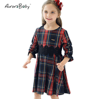 AuroraBaby Thick Girls Plaid Dresses Autumn Long Sleeve Children Girls Dresses Clothes Toddler Girls Kids Cotton