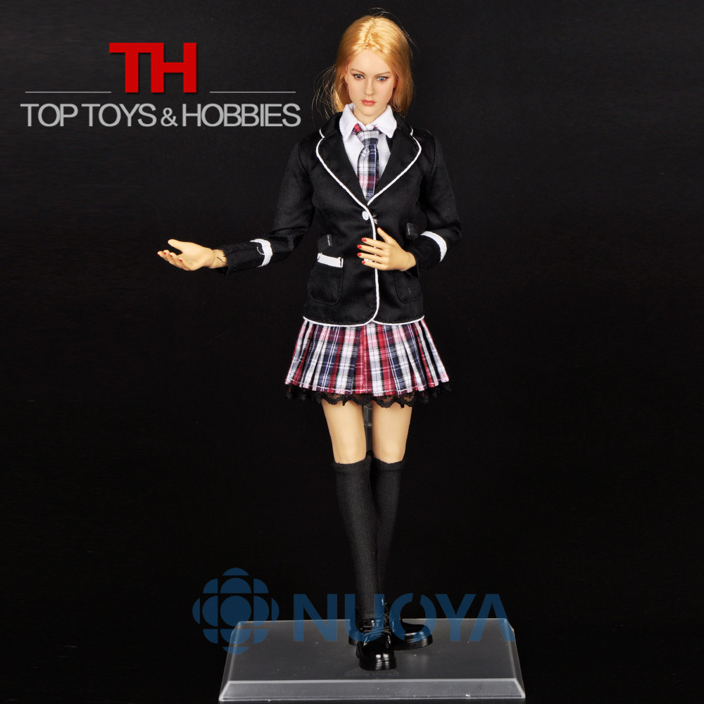 DIY Doll Toys 1/6 Scale Beautiful Female School Girl Full Set,Head Sculpt+Body+Clothing Accessories For 12 Action Figure Doll