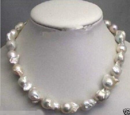 Vente chaude nouveau Style>>>>> Grand 15-23mm Blanc Insolite disque Baroque Collier de Perles Fermoir